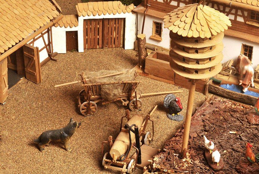Egerländer Vierseithof, Modell in der Dauerausstellung