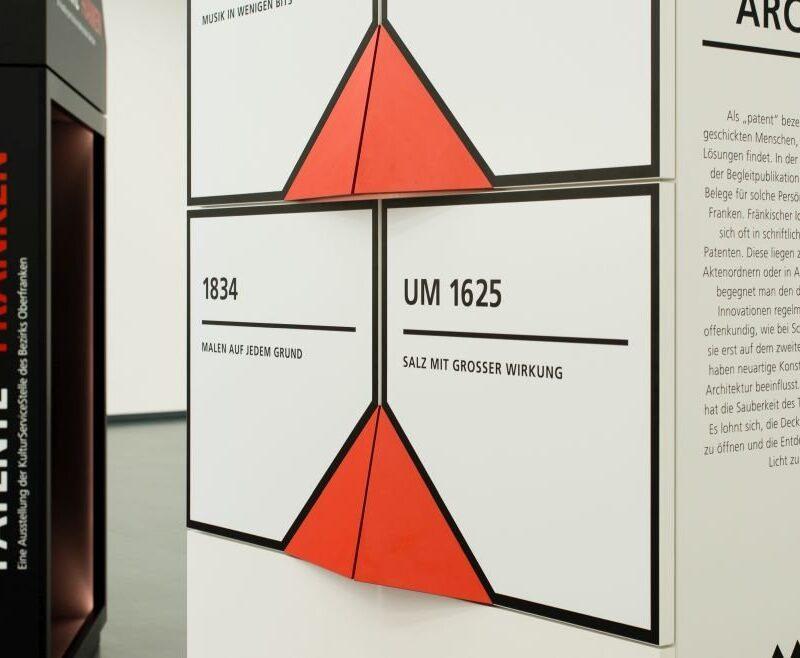 Wanderausstellung Patente Franken. Eine Ausstellung der KulturServiceStelle des Bezirks Oberfranken - Ausstellungsdesign von toc. designstudio