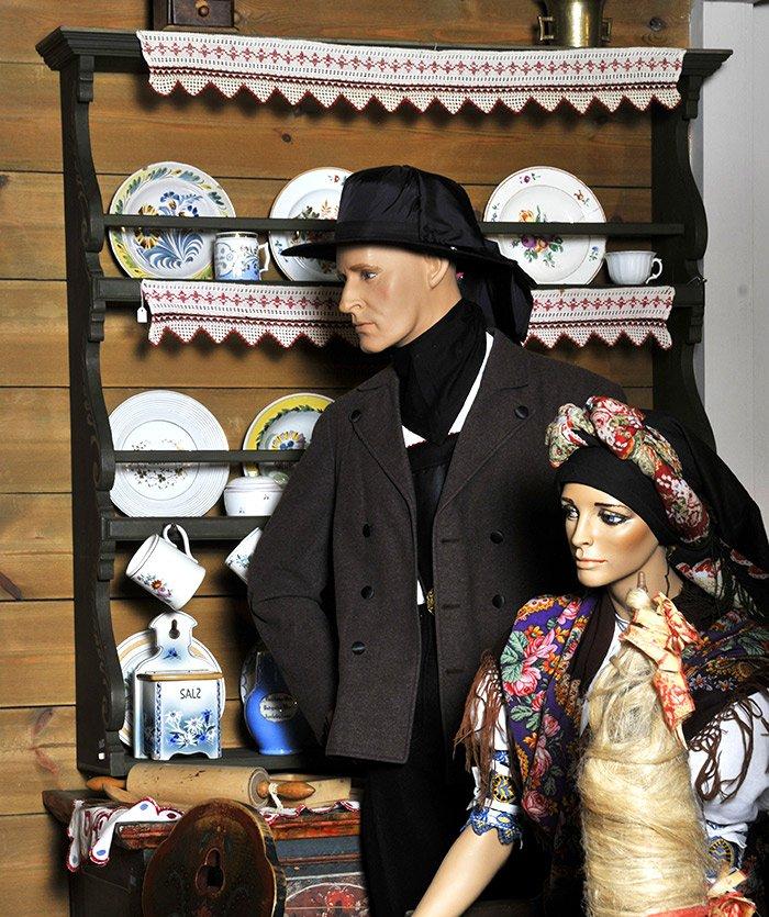 Inscenace selské světnice typické pro Chebsko ve stálé expozici